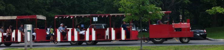 Trackless train inside Toronto's High Park